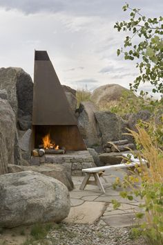Coronet outdoor fireplace Carney Logan Burke Architects