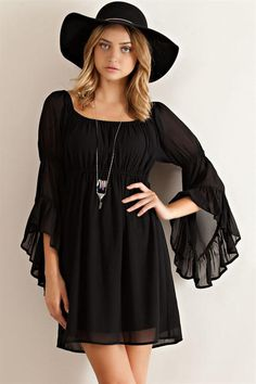 Ruffled Sleeve Empire Dress - Black from Knitted Belle Boutique. Saved to .