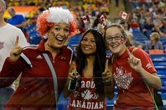 Fans pose for a picture during the 2015 FIFA Women's World Cup Group A match between Canada and the Netherlands at Olympic Stadium on June 15, 2015 in Montreal, Quebec, Canada. (Minas Panagiotakis/Getty Images)