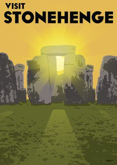 A 20s to 30s travel inspired poster featuring the Stonehenge monument, Wiltshire, England at sunset. Visit www.apresart.com for purchasing options. ©2014 Apres Art.