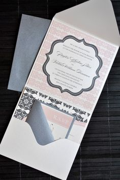 Liya Pocketfold Wedding Invitation Suite  Ivory by lvandy27, $5.99
