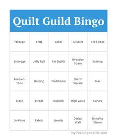 Quilt Guild Bingo