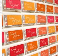 Place cards with scratch of lottery tickets, cute!