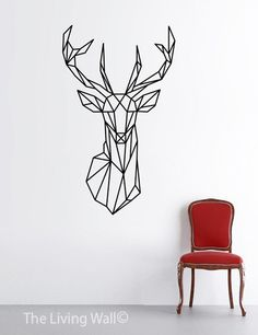 Geometric Deear Head Wall Decal Geometric Animals by LivingWall