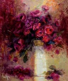 'Roses Are Red' - oil painting by Nora Kasten (burgundy, maroon, colors)