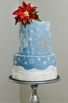 Winter Night - Cake by Custom Cakes Atelier (Leyda Vakarelov) very lovely design - I might have used a white flower.....