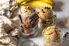 Banán fagyi variációk Falafel, Tahini, Granola, Pudding, Ice Cream, Vegan, Food, No Churn Ice Cream, Custard Pudding