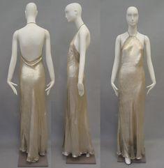 Vionnet bias silk and metallic lame gown, Photos: Metropolitan Museum. 1930s Fashion, Edwardian Fashion, Vintage Fashion, Fashion Goth, Day Dresses, Evening Dresses, Afternoon Dresses, Flapper Dresses, Vintage Gowns