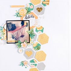 My Home *Jot Magazine* by raquel at @studio_calico. Hexagon pattern paper, watercolor drawn flowers