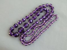 Vintage Art Deco Era Graduated Hand Knotted Faceted Purple Glass Bead Necklace