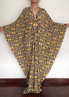 Plus Size Maxi Dress Kimono Butterfly Yellow by MaxiDressWardrobe