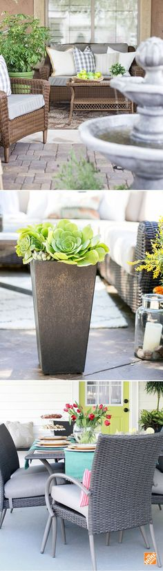 Design your patio, deck or porch with confidence! Check out The Home Depot Blog for ideas on how to customize your space with patio furniture options, outdoor accessories, plants and more.