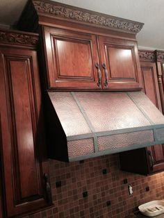 Kitchen Cabinet, Hood   Kemper Cabinets, Cherry, Whiskey Black Cabinets,  Copper Hood