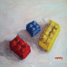 still life idea-primary color scheme painting.  Quick paintings everyday!