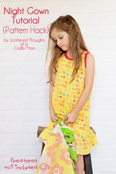 Use this free pdf pattern (sz 3 to 8) and tutorial to make a nightgown for your little one. #freepatterns