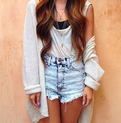 Brandy Melville. high waisted jean shorts, slouchy tank top, baggy sweater <3