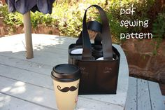 Espresso Express coffee carrier  PDF sewing by teapotandsnail, $8.00