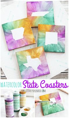 DIY Watercolor State Coasters - Easy DIY craft idea, and great for gifts! for teenagers DIY Watercolor State Coasters - Fun DIY craft idea! Diy Craft Projects, Diy Crafts Videos, Diy Crafts For Kids, Fun Crafts, Kids Diy, Preschool Crafts, Decor Crafts, Craft Ideas, Fall Projects