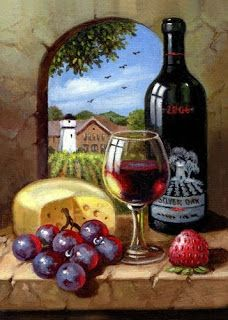Silver Oak – Napa Valley – Elizabeth Souza – Join in the world of pin Wine Painting, Fruit Painting, Painting Canvas, Fabric Painting, Mosaic Pictures, Art Pictures, Painting Pictures, Napa Valley, Art Du Vin