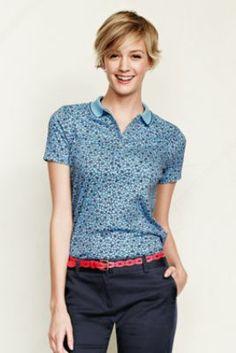 Women's Short Sleeve Print Pima Polo Shirt from Lands' End