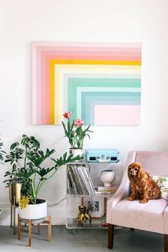 How to paint a DIY color block rainbow wall art in your home with any of your favorite color paints! It's easy and makes such an impact! This was made on a large art canvas with paint sample pots… Diy Wall Decor, Nursery Decor, Diy Home Decor, Nursery Wall Art, Room Decor, Diy Wand, Mur Diy, Wal Art, Diy Inspiration