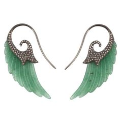 Fly Me to the Moon Aventurine Diamond Gold Wing Earrings 1