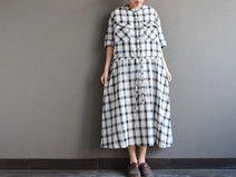 Pure Cotton Elastic Plaid Dress New Plus Size Maxi