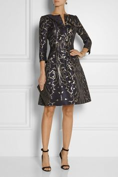 Oscar de la Renta, black metallic jacquard dress; LBD, 3/4 length sleeves