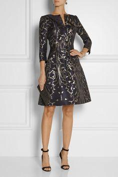 Oscar de la Renta, black metallic jacquard dress; LBD, 3/4 length sleeves