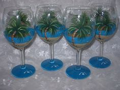 Palm Tree Beach Hand Painted Wine Glasses by BedOfRosesBoutique