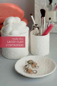 Gorgeous DIY containers with lace imprints. Made with air-dry clay they are easy as can be! | Design Mom