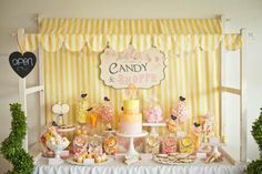 Kara's Party Ideas Shop -   Vintage Candy Shoppe theme - love the yellow, orange and pink colors