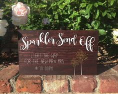 This beautiful rustic, elegant stand alone wooden sign is perfect for your wedding.  The wood can be stained either mahogany (shown), honey, or english chestnut.  The writing can be either white, gold, silver or mint.  The sign measures 8.5 tall, 14 long and 1 thick.  Please message me if you have any questions, I am happy to answer any of them!  Please note that no two pieces of wood can be identical, so slight variations in the color and texture of the frame might occur. We work hard to…