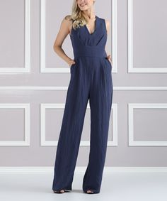 Take a look at this Suzanne Betro Slate V-Neck Jumpsuit - Plus Too today!