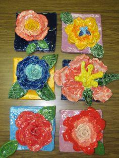 4th grade ceramic flower sculptures (2nd view); lesson by art teacher: Susan Joe