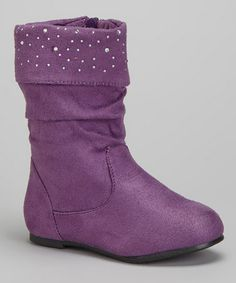 Take a look at this Purple Shimmer Slouch Boot by Chatties on #zulily today!