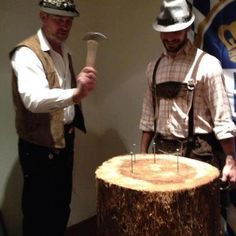 "Himmel Haus - South Lake Tahoe, CA, United States. ""Hammerschlagen"", one of a number of  traditional Bavarian games."