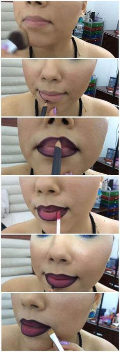 Makeup Lips -                                                              How To Do Ombre Lip | How To Apply Lipstick And DIY Lipstick Tricks at Makeup Tutorials | #makeuptutorials | makeuptutorials.com