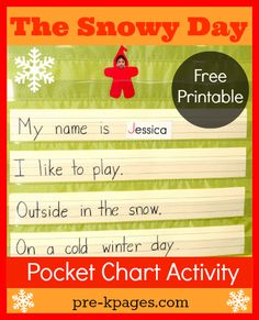 The Snowy Day Pocket Chart Activity for Preschool and Kindergarten