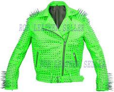 #Comfortable #Green #Brando #Belted #Leather #Jacket #Silver #Spike #Studded #Leather #Brando #Jacket #Spiked #Women #Leather #Jacket #Ladies #Biker #Jacket Biker Style, Jacket Style, Punk Jackets, Studded Leather Jacket, Lady Biker, Jacket Buttons, Leather Jackets, Belt Buckle