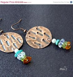 ON SALE Handmade Hammered Oxidized Copper by EVIsMetalworkJewelry, €10.20