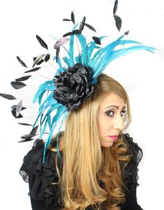 Black/Turquoise Fascinator Hat for Weddings by Hatsbycressida...