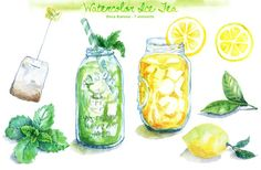 Watercolor Ice Tea by Dora Katona on @creativemarket