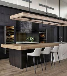 Closed Kitchen Design, Luxury Kitchen Design, Kitchen Room Design, Contemporary Kitchen Design, Home Decor Kitchen, Interior Design Kitchen, Home Kitchens, Modern Kitchen Designs, Modern Kitchen Interiors