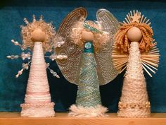 DIY, Body, head DIY. Tinned wings on another pinned project - Angels made using Yarn and Cardboard Cones |gingerbread_snowflakes