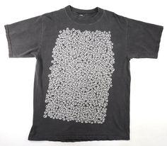 80's PEACEマーク総柄! 色褪せブラックTシャツ 実寸(XL位)