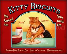 Cats in Illustration and Advertising: Orange Cat Kitty Biscuits Label.   Kneading Kitty Biscuits