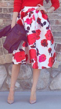 Falda floreada colores calidos