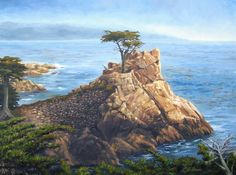 """The Lone Cypress"" oil on canvas"