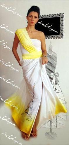 Paris - rochie max unicat - creatie proprie - pictata manual